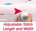 Adjustable stitch size and length